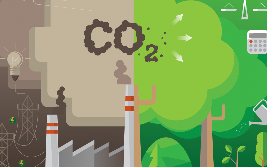 factory emitting carbon dioxide emissions into the air and polluting it